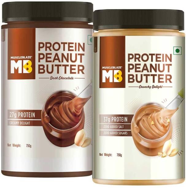 MuscleBlaze High Protein Peanut Butter Pack of 2,Dark Chocolate & Crunchy Delight 1500 g