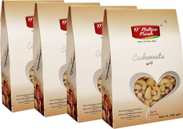 D NATURE FRESH Raw Cashews Nuts 1kg ( Pack of 4-250g Each) Cashews