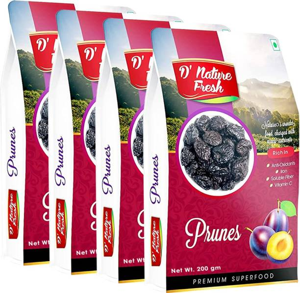 D NATURE FRESH Dried Pitted Prunes 800g ( Pack of 4 - 200g Each) Prunes