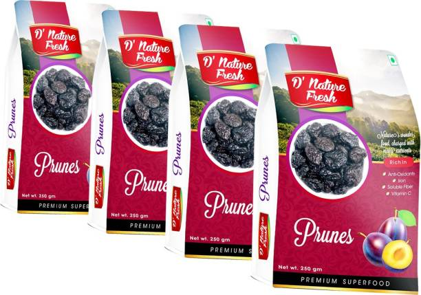 D NATURE FRESH Dried Pitted Prunes 1kg ( Pack of 4 - 250g Each) Prunes