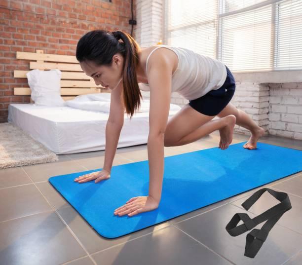 Fitness Mantra Premium 100% EVA Eco Friendly Non Slip Yoga Mat With Strap Blue 6 mm Yoga Mat