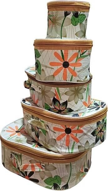 Rasafa Pack of 5 Fashionable High quality Makeup Kit box, Storage Case, Spacious interior Vanity Box