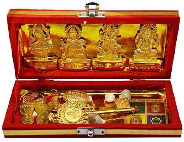GEMLOK Shri Laxmi Kuber Dhan Varsha Yantra-Medium Size Brass Yantra