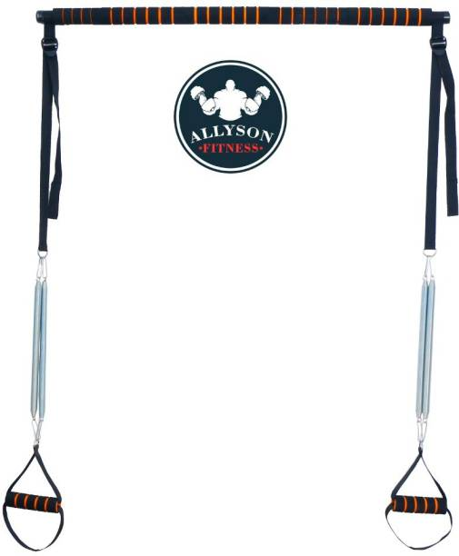Allyson Fitness Pilates Bar Kit, Adjustable Yoga Pilates Stick with, Pilates Bar with Foot Straps Multi-training Bar