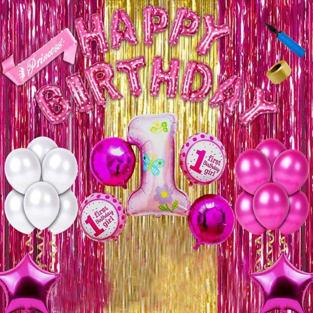 Shopperskart Baby girl first/1st happy birthday room/wall party decorations Combo/kit/pack kit pack