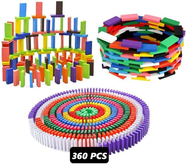 Authfort Super Domino Blocks Set, 360 PCS Colorful Wooden Domino Blocks Racing Toy Game Racing Educational Toys for Birthday Party