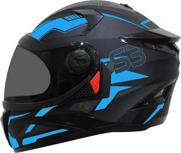 Steelbird SBH-17 Terminator Full Face Graphic Helmet in Matt Fluo Blue with Smoke Visor Motorbike Helmet