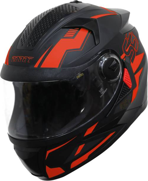 Steelbird SBH-17 Terminator Full Face Graphic Helmet in Glossy Black Fluo Red Motorbike Helmet