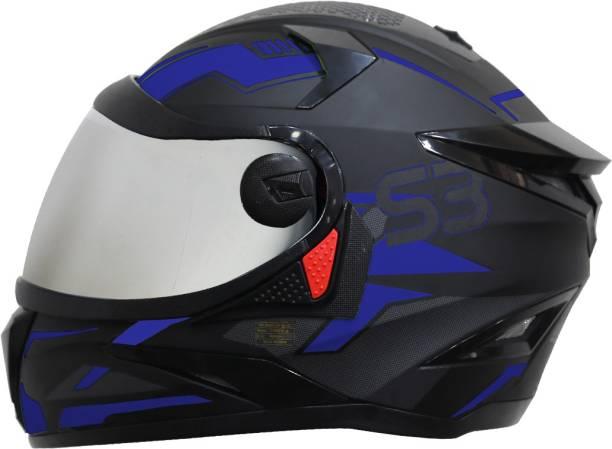 Steelbird SBH-17 Terminator Full Face Graphic Helmet in Matt Black Blue with Silver Visor Motorbike Helmet