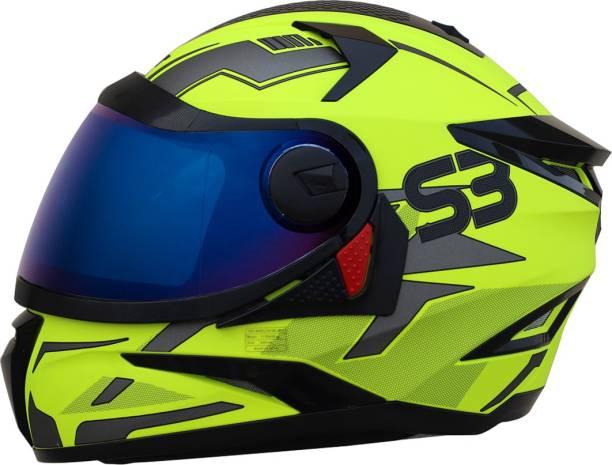 Steelbird SBH-17 Terminator Full Face Graphic Helmet in Glossy Fluo Neon with Blue Visor Motorbike Helmet