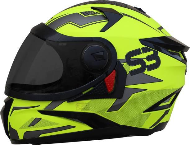 Steelbird SBH-17 Terminator Full Face Graphic Helmet in Glossy Fluo Neon with Smoke Visor Motorbike Helmet