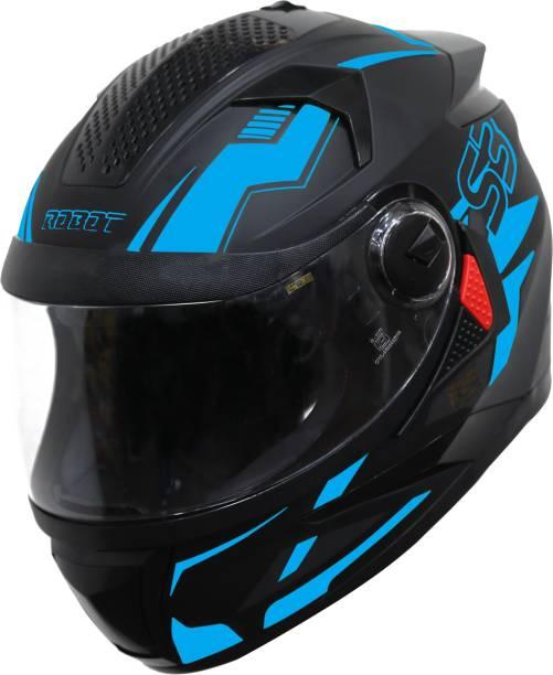 Steelbird SBH-17 Terminator Full Face Graphic Helmet in Matt Fluo Blue Motorbike Helmet