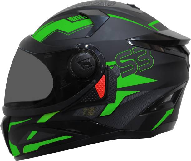 Steelbird SBH-17 Terminator Full Face Graphic Helmet in Fluo Matt Black Green Motorbike Helmet