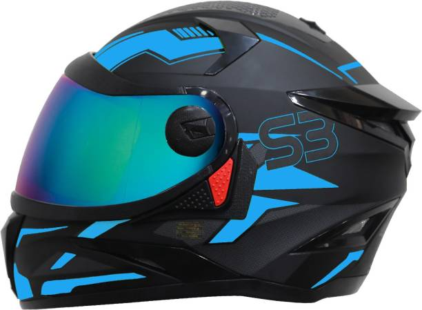 Steelbird SBH-17 Terminator Full Face Graphic Helmet in Matt Black Fluo Blue Motorbike Helmet