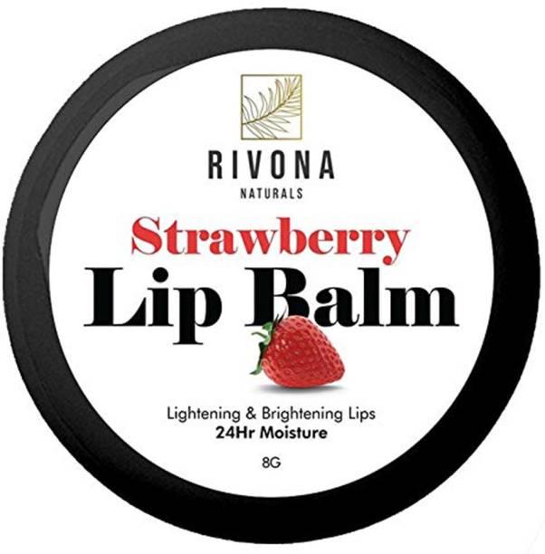 RIVONA NATURALS Strawberry Lip Balm for Moisturises Dry & Cracked Lips, 24hr Moisture - 8 g Strawberry