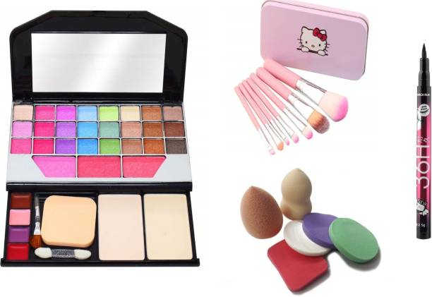 MY TYA Makeup Kit Color Icon Eyesahdow + Makeup Brushes + 6 Piece Makeup Sponges + Yanqina EyeLiner Black