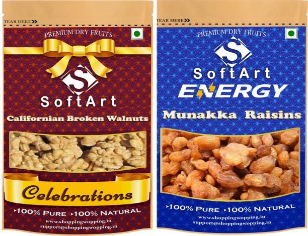 Soft Art Dry fruits combo of Californian Broken Walnut & Munakka (100g Each) Walnuts, Raisins