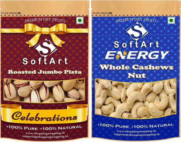 Soft Art Dry fruits combo of Roasted Pista With Shell & Whole Kaju Nuts (100g Each) Pistachios, Cashews