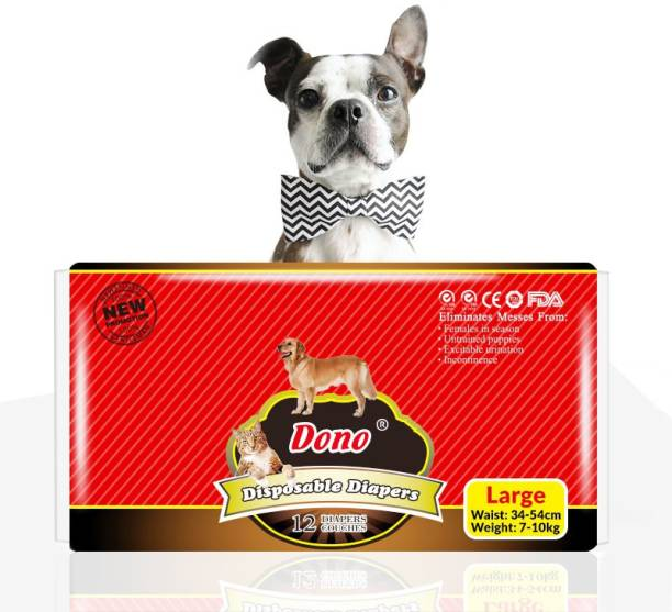 PetVogue DONO Disposable Pet Diapers for Female Dogs Super Absorbent - Pack of 12 Large Disposable Dog Diapers