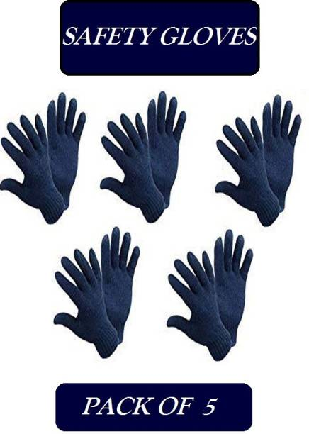 TECHOMANIA Cotton Knitted Hand Gloves 5 pair Navy Blue safety hand gloves Kevlar  Safety Gloves