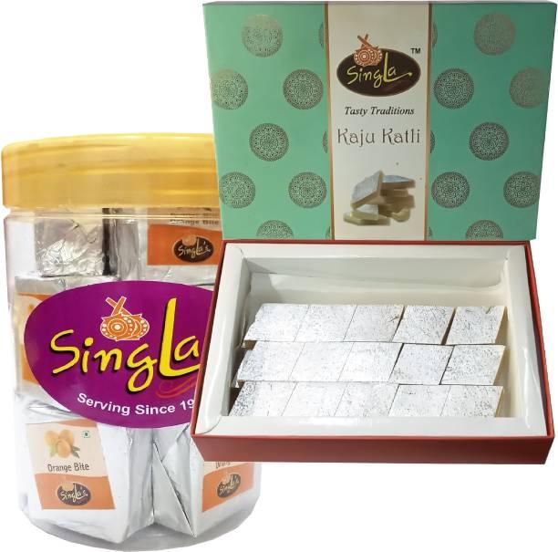 Singla Orange Bite Burfi 400g, Kaju Katli Sweets 400g Combo (Pack of 2*400g, 800g) Box