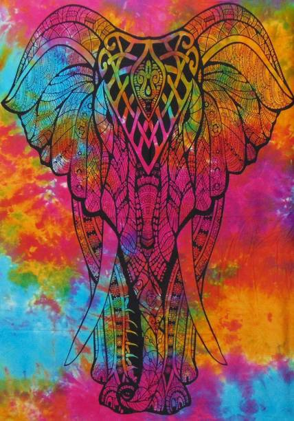 Heyrumbh Handicrafts Front Face Elephant Tapestry Hippie Psychedelic Boho Bohemian Cotton Decorative Wall Hanging Poster 40 X 30 Inches Tapestry