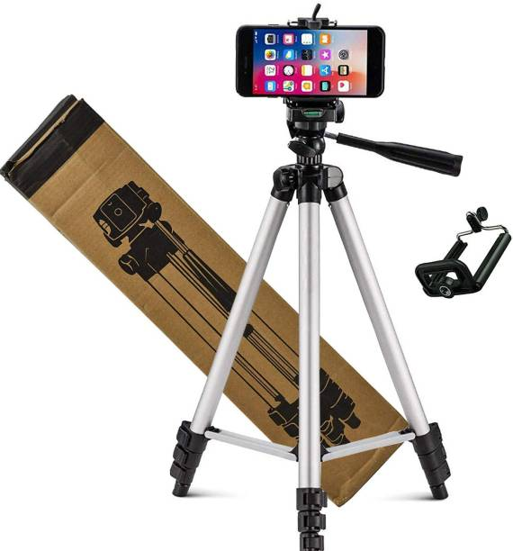 Starpro Professional 3110 Tripod with mobile holder Light Aluminum Alloy Photography Stand for Make Videos on ,MX Taka Tak, Vigo Video,YouTube ,instagram ,online class, Fits all smartphones ,camera ,projector/ Strong and Durable Tripod/Portable and Extendable body Tripod, Tripod Kit