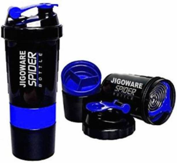 JIGOWARE Spider Protein Shaker Bottle 500ml with 2 Storage Extra Compartment for Gym 500 ml Shaker