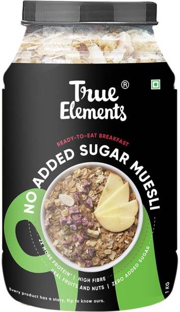 True Elements No Added Sugar Muesli, Ready to Eat Breakfast, Real Fruits and Nuts, High Protein