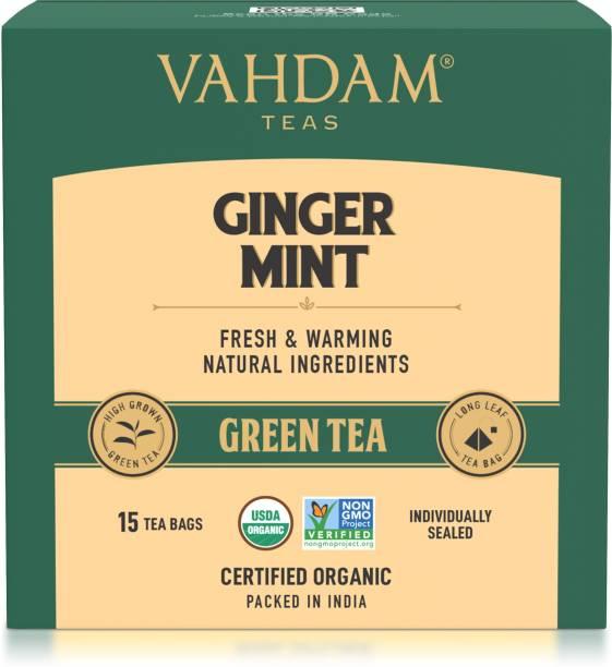 Vahdam Teas Ginger Mint Green Ginger, Mint Green Tea Bags Box