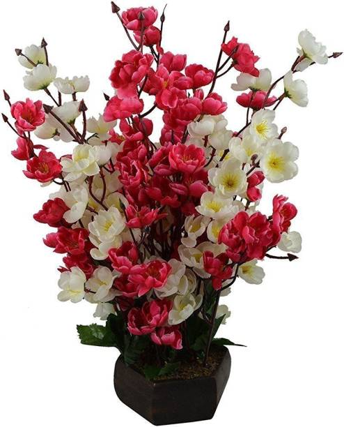 KAYKON Artificial Flower Pot Orchid Blossom Pot Home Decor Flowers - 16 inch/40 CM - Superb Quality Red, White Orchids Artificial Flower  with Pot