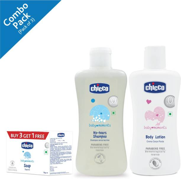 Chicco Baby Moments Soap, (Pack of 4, 75 g per pack) Shampoo 100 Ml and Body Lotion 100 Ml ( Pack of 3)