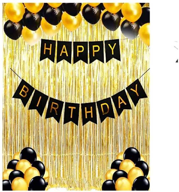 AZEFFIA Solid Balloons Combo Kit Pack of 1 Piece Happy Birthday Banner, 30 Black and Golden Balloon, 2 Golden Curtains for Birthday Decoration Balloon