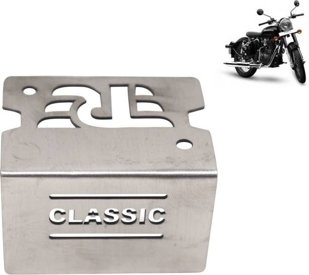Ramanta Stainless Steel Bike Front Disc Brake Fluid Reservoir Cap Cover Guard Protector - Pack of 1 Royal Enf Classic 350 and 500 cc Bike Crash Guard