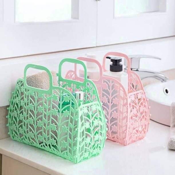 DS SALES Plastic Foldable Light Weight & Smart Lock Creative Design Fruit & Vegetable Storage Basket, Fruit Shopping Basket Multi Colour Plastic Fruit & Vegetable Basket