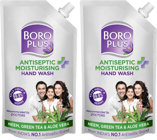 BOROPLUS Antiseptic + Moisturising Hand Wash - Neem, Green Tea & Aloe Vera (Refill Pouch with Spout) Pack of 2 Hand Wash Refill Pouch