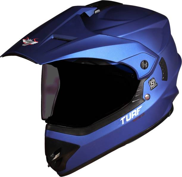 Steelbird Off Road TURF Motocross Helmet in Matt Y.Blue with Extra Clear Visor Motorbike Helmet