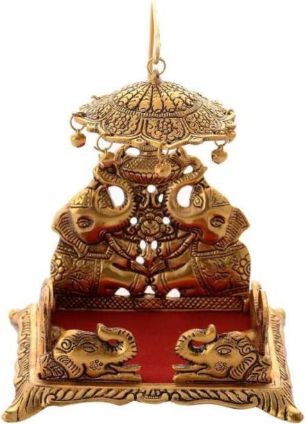 anil job works Handcrafted Singhasan for Laddu Gopal/Bal Gopal in Metal Gold Oxidized Finished Laddu Gopal Singhasan for Home Decor & Gifts Metal Home Temple