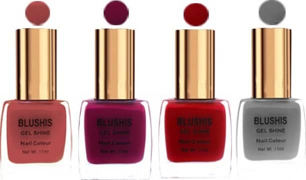 BLUSHIS Gel Shine Nail Color Pack Of 4 Dusty Blush,Dark Magenta,Red,Grey