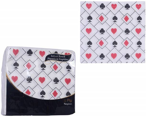 Modi Household Printed Tissues 2 ply Premium Printed Paper Napkins- 30*30 (Pack of 2) White Napkins