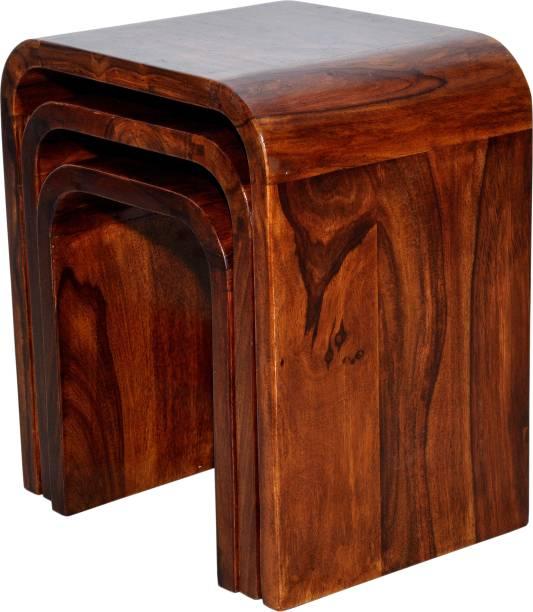 Advika Handicraft Sheesham Solid Wood Nesting Bedside End Table Set of 3 Stools| Living Room| Solid Wood Nesting Table