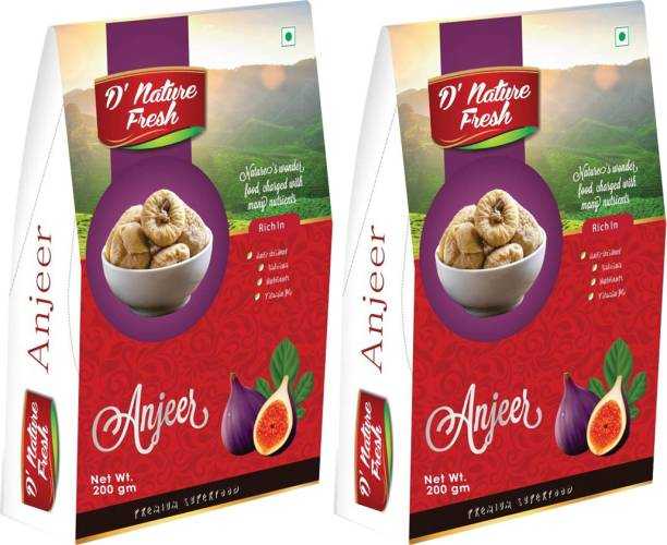D NATURE FRESH Dried Anjeer Figs 400g (Pack of 2 -200g Each) Figs