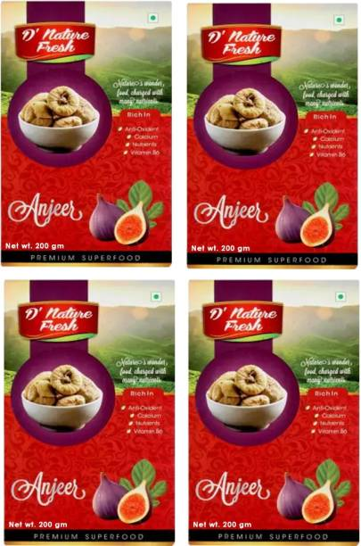 D NATURE FRESH Dried Anjeer Figs 800g ( Pack of 4 - 200g Each) Figs
