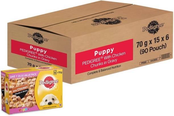 PEDIGREE Pedigree Puppy Wet Dog Food, Chicken Chunks in Gravy, 70 g (Pack of 90) Chicken 6.3 kg Wet New Born Dog Food