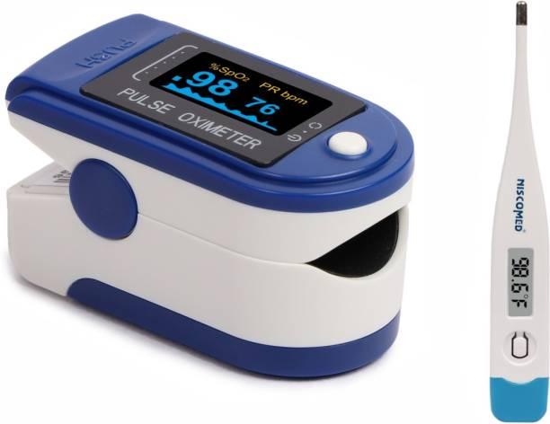 NISCO PULSE OXIMETER WITH DIGITAL THERMOMETER HEALTH CARE APPLIANCE COMBO. Pulse Oximeter