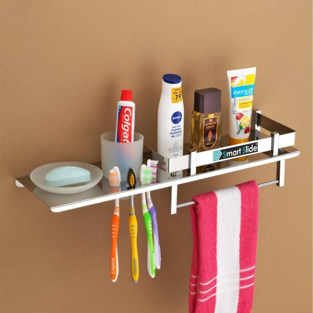 SMART SLIDE Stainless Steel 4 in 1 Multipurpose Bathroom Shelf – Soap Dish - Tumbler Holder – Toothbrush Holder – Towel Holder - Hanger - Towel Rod Bathroom Accessories (18 x 5 Inches) Stainless Steel Wall Shelf