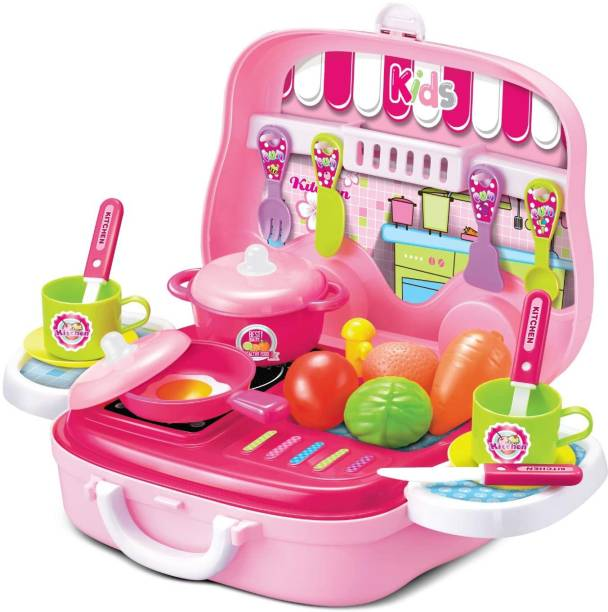 Kidzy mini modern kitchen food COOKING accessories COOK SUITCASE COLLECTION TOY with kitchen tool kit & LITTLE CHEF MASTER set for baby girl under gift playset & playing purpose
