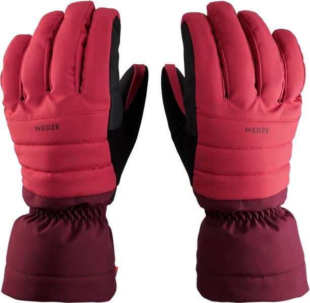 Wedze by Decathlon ADULT DOWNHILL SKI GLOVES 500 - PLUM Ski Gloves