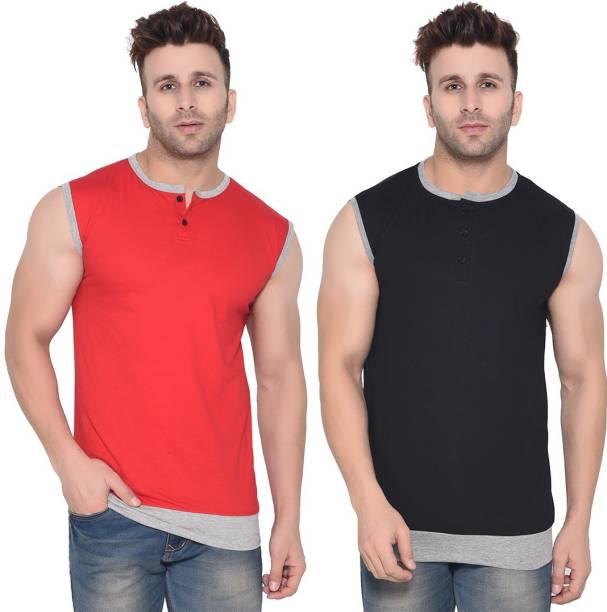 BEYOU FASHION Solid Men Henley Neck Red, Black T-Shirt