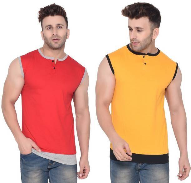 BEYOU FASHION Solid Men Henley Neck Red, Yellow T-Shirt